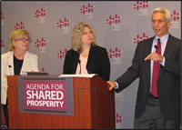 Barbara Ehrenreich, Nancy Cauthen, Jared Bernstein (from left)